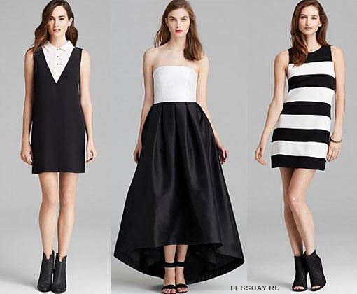 Модели платьев черно-белые