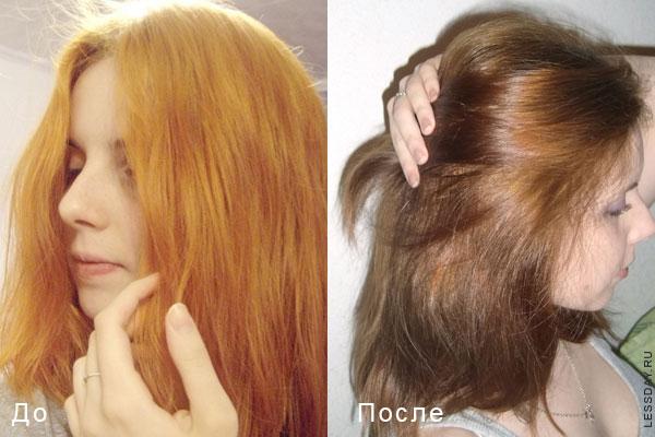 с черного в русый фото до и после