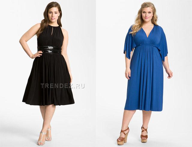 И синее вечернее платье с завышенной