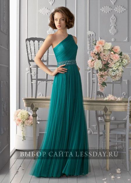 Платье в пол на одно плечо с цветами