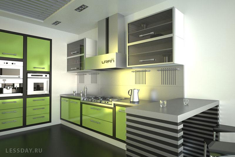 Интерьер кухни в салатово-сером цвете фото