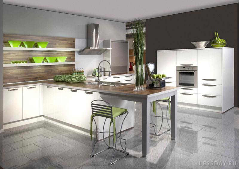 Дизайн кухни белый гарнитур