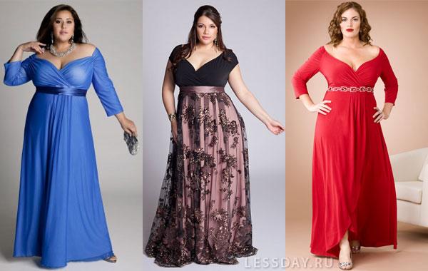 79d1f0b008b41db На фото вечерние платья с завышенной талией и глубоким V-образным декольте,  синее, красное и двухцветное.