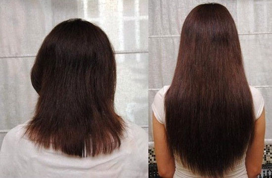 Маски для волос до и после