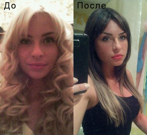 Цвет каштан цвет волос фото до и после окрашивания