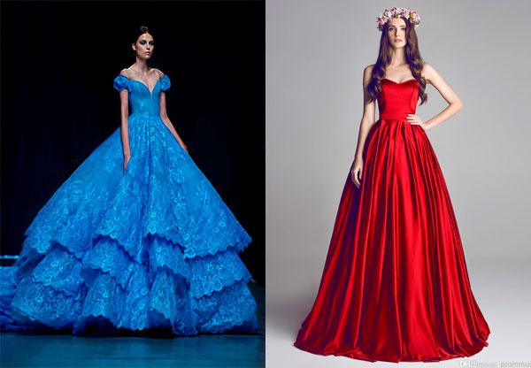 66e3c9aa540 Фото  модели с пышной юбкой голубого и красного цветов.